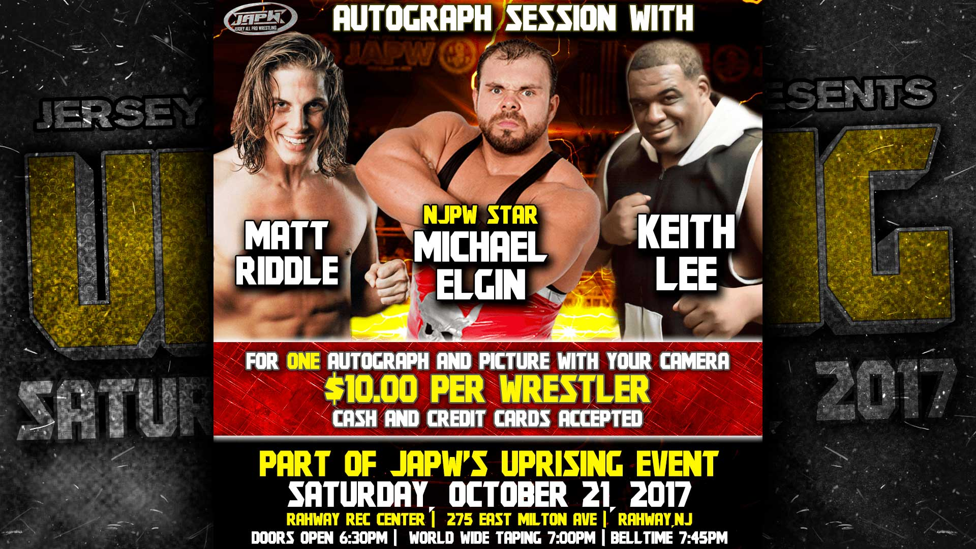 10/21 Autograph Signing with Michael Elgin, Matt Riddle, and Keith Lee!